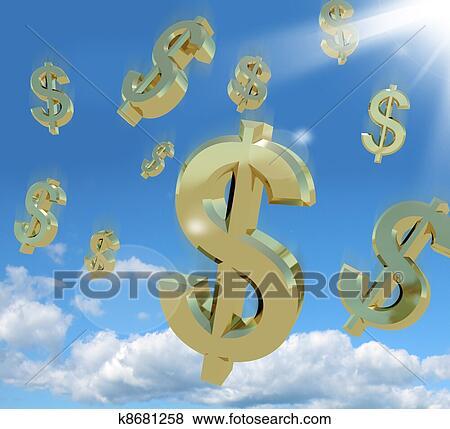 images dollar symboles tomber depuis les ciel comme a signe de richesse k8681258. Black Bedroom Furniture Sets. Home Design Ideas