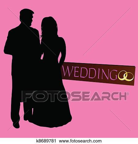couple, mariage, silhouette, à, anneaux Voir Clipart Grand Format