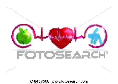 Clip Art Of Watercolor Healthy Living Health Care Symbols K18457568