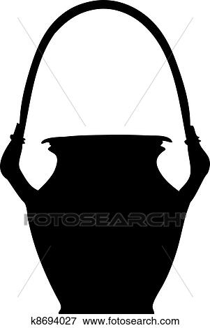 clip art of clay pot silhouette k8694027 search clipart rh fotosearch com Earthen Pot for Cooking Flower Pot