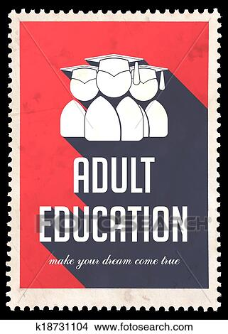 Drawings of Adult Education on Red in Flat Design. k18731104 ...