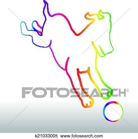 Clipart of Happy rainbow dog with ball logo k21033005 ...