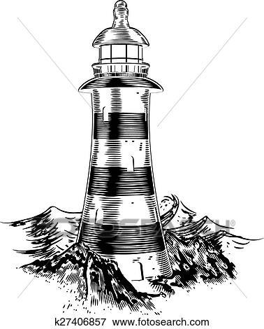 Clipart phare sur rochers k27406857 recherchez des cliparts des illustrations des - Rocher dessin ...