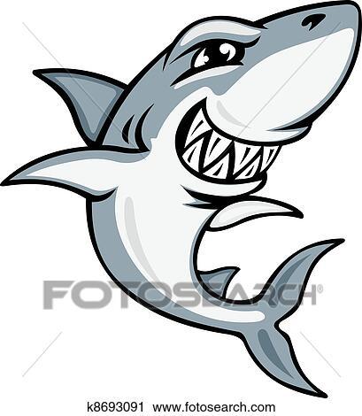 Clipart karikatur hai maskottchen k8693091 suche for Disegno squalo