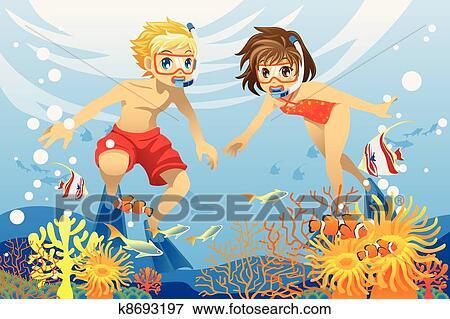 Clip Art - niños, el nadar bajo el agua k8693197 - Buscar Clip Art ...