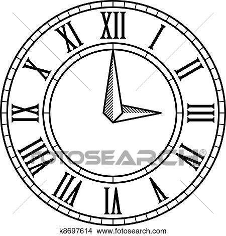 Clipart Of Vector Vintage Antique Clock Face K8697614
