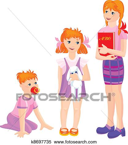 Clipart of cartoon of growing girls k8697735 - Search Clip Art ...