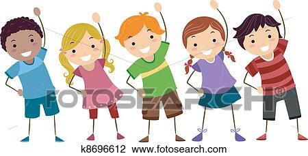 clipart kids exercise fotosearch search clip art illustration murals drawings and - Exercise Pictures For Kids