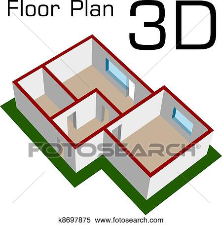 Clipart of vector 3D empty house floor plan k8697875 - Search Clip ...