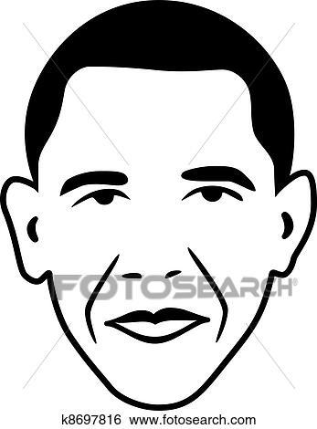 clip art of vector barack obama president of usa k8697816 search rh fotosearch com obama cartoon clip art obama cartoon clip art