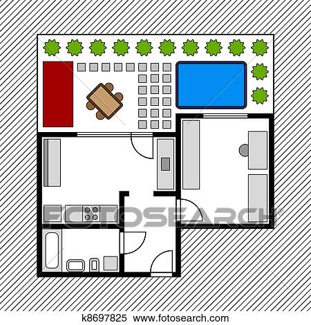 Clipart of vector house floor plan with garden k8697825 - Search ...