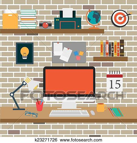 Clip Art of Vector Office room.interior,books ,desk,clock,computer ...