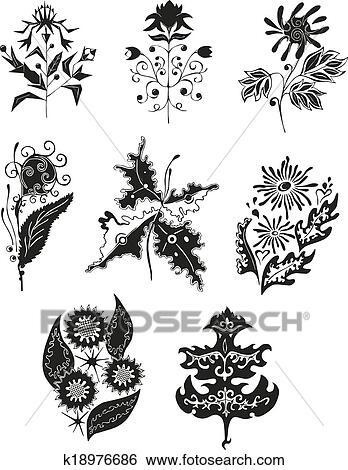 剪贴画 - 黑白, 花, 设计