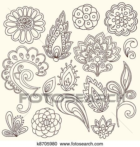Clipart of henna paisley tattoo doodles vector k8705980 search clip