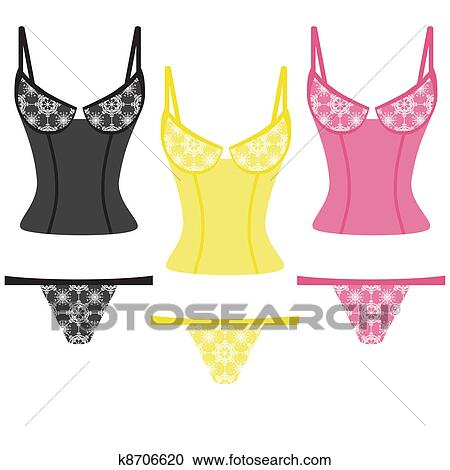 Clipart of lingerie on white background k5232875 - Search Clip Art ...