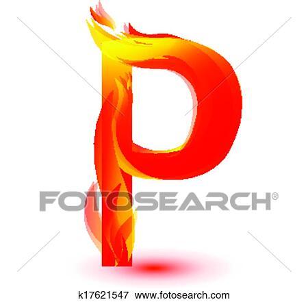 clip art of fire p letter image design vector k17621547 search rh fotosearch com Letter Q Clip Art Cartoon Letters Clip Art