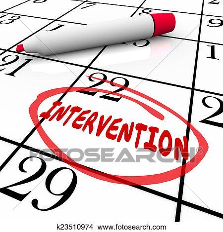 foto de Stock Photo of Intervention Word Circled Calendar Help