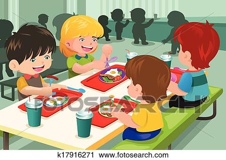 Clipart of Elementary students eating lunch in cafeteria ...