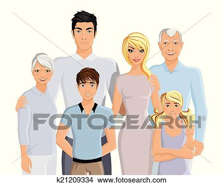 Clipart of Big family portrait k21209334 - Search Clip Art ...