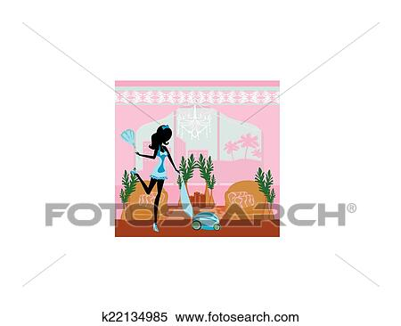 Clipart of Sexy pinup style french maid cleans the room k22134985 ...