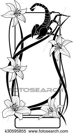剪贴画 - 百合花, 同时,, 蝎子, 框架