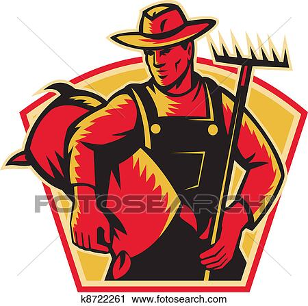 Clipart of Farmer Agricultural Worker With Rak k8722261 - Search ...