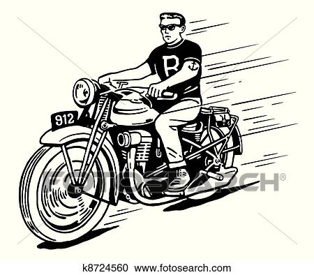 Clipart of Rebel on vintage motorcycle k8724560 - Search ...