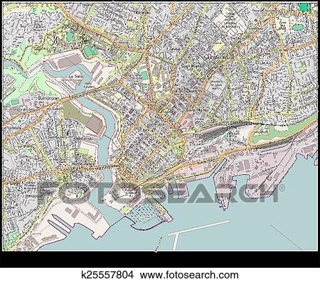 Clipart of Brest France city map k25557804 Search Clip Art