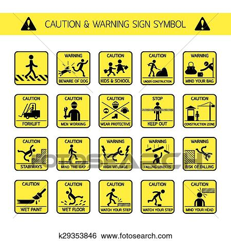 Clip Art of Caution and Warning Signs in Public and Construction ...