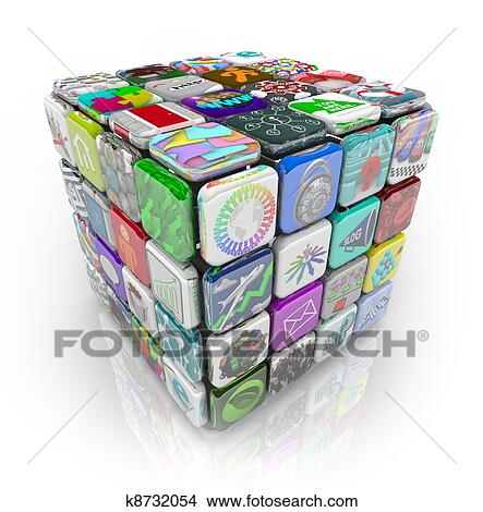 Dessins apps cube de application logiciel tuiles for Application dessin 3d