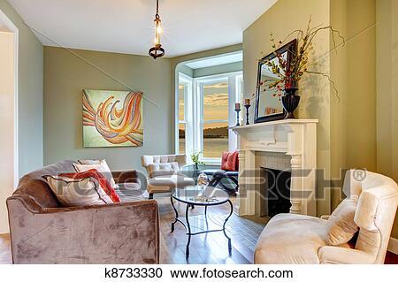 Stock fotografie sch n elegante gr n wohnzimmer mit for Elegante wandbilder