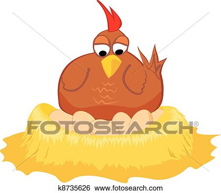 Clipart of Positions of a hen laying eggs k13105103 - Search Clip ...