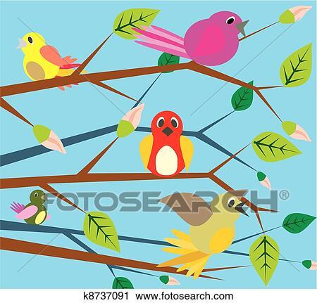 剪贴画 鸟, 唱, , 春天