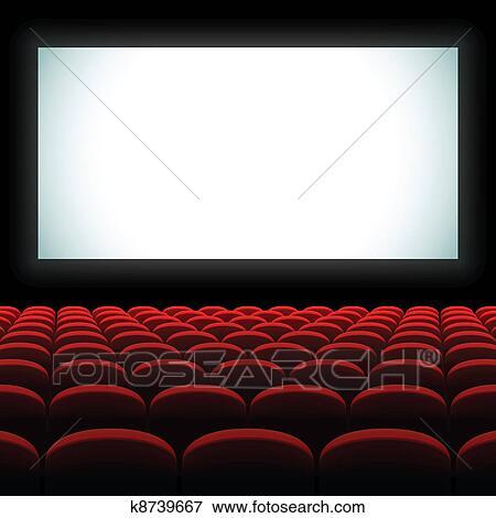 电影院屏幕_电影院, 礼堂, 带, 屏幕, 同时,, 座位