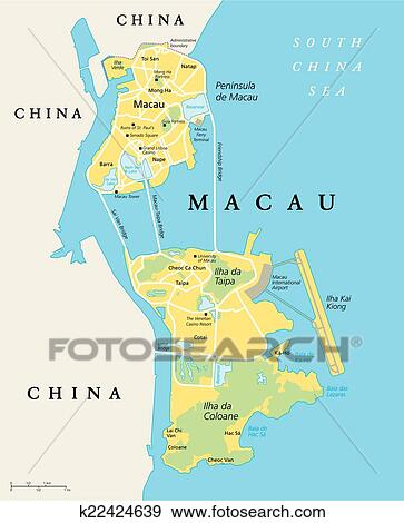 Clip Art of Macau Political Map k22424639 Search Clipart