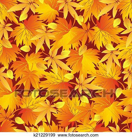 剪贴画 - seamless, 模式, 带, 黄色, 桔子, 红, 秋季树叶.图片