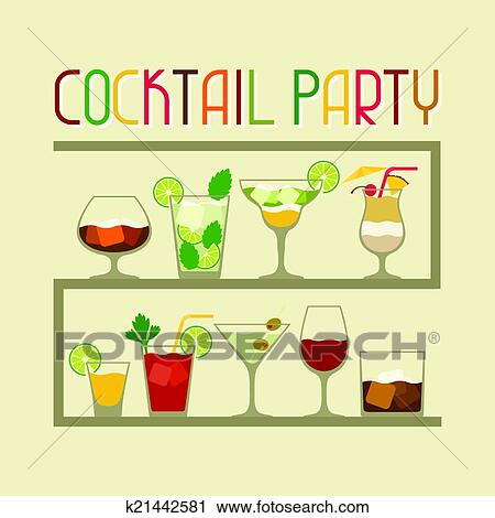 clipart party einladung mit alkohol getr nke und cocktails k21442581 suche clip art. Black Bedroom Furniture Sets. Home Design Ideas