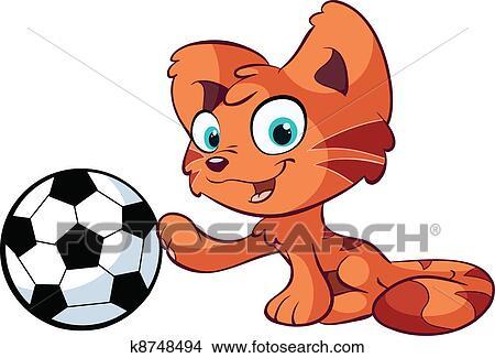 手绘图 - 漂亮, 红, 猫, 带, 足球.图片