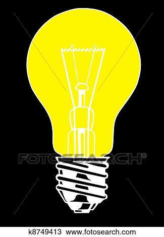 Disegno - lampadina, su, sfondo nero. Fotosearch - Cerca Clipart ...