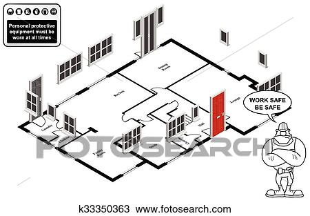 Clipart of Isometric house floor plan k Search Clip Art