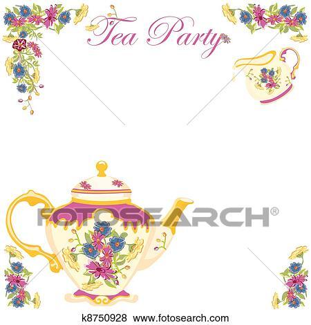 Clip Art of Victorian Tea Pot Party Invitation k8750928 ...