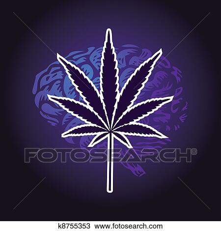 Dessin feuille cannabis et cerveau humain fond illustration k8755353 recherchez des - Dessin feuille cannabis ...