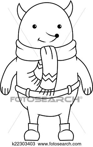 clipart coloring book cheerful cartoon fox character wearing scarf and pants fotosearch - Fox Coloring Book