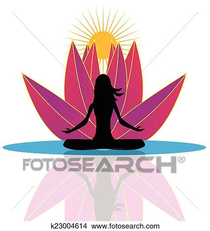 clipart of yoga and lotus flower logo k23004614 search clip art rh fotosearch com