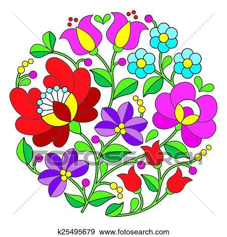 Clip Art Of Kalocsai Embroidery  Hungarian K25495679