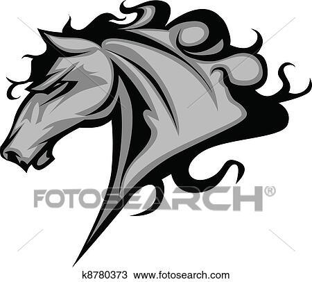 Clipart cheval sauvage ou talon mascotte k8780373 recherchez des clip arts des - Clipart cheval ...