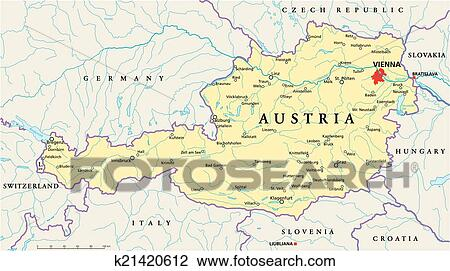 Clipart of Austria Political Map k21420612 Search Clip Art