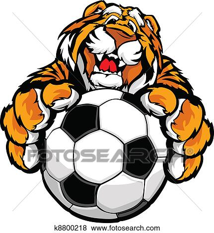 clip art of cute happy tiger mascot with soccer k8800218 search rh fotosearch com clemson tiger mascot clipart tiger mascot clip art vinyl decal