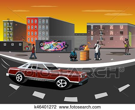 Clipart of illustration of a ghetto with black people k46401272 clipart illustration of a ghetto with black people fotosearch search clip art sciox Gallery