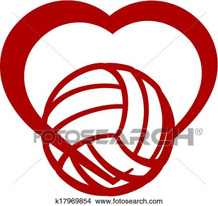Clipart of Volleyball Heart k17969854 - Search Clip Art ...